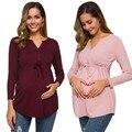 Одежда для беременных женщин блузка Ropa De Mujer для беременных с длинным рукавом однотонные топы для кормящих мам футболка для грудного вскарм...