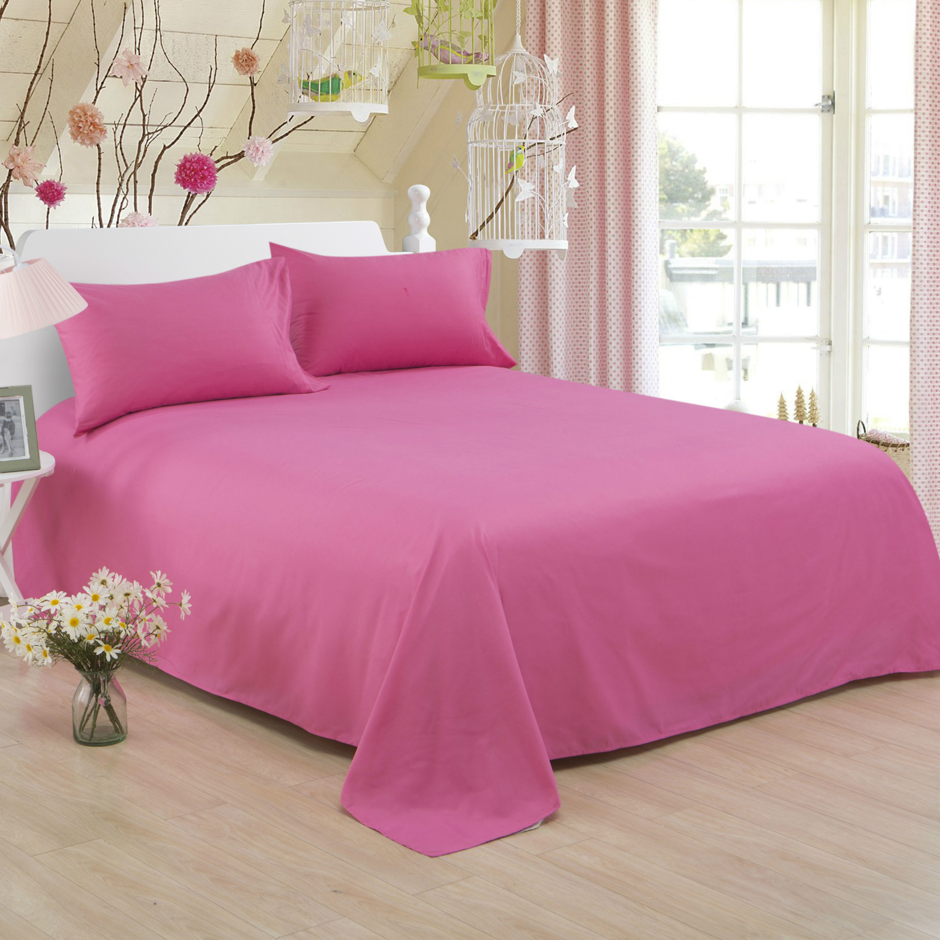 ropa de cama Solid color polyester cotton bed sheet hotel home soft brushed flat sheet queen bed cover not included pillowcase 14