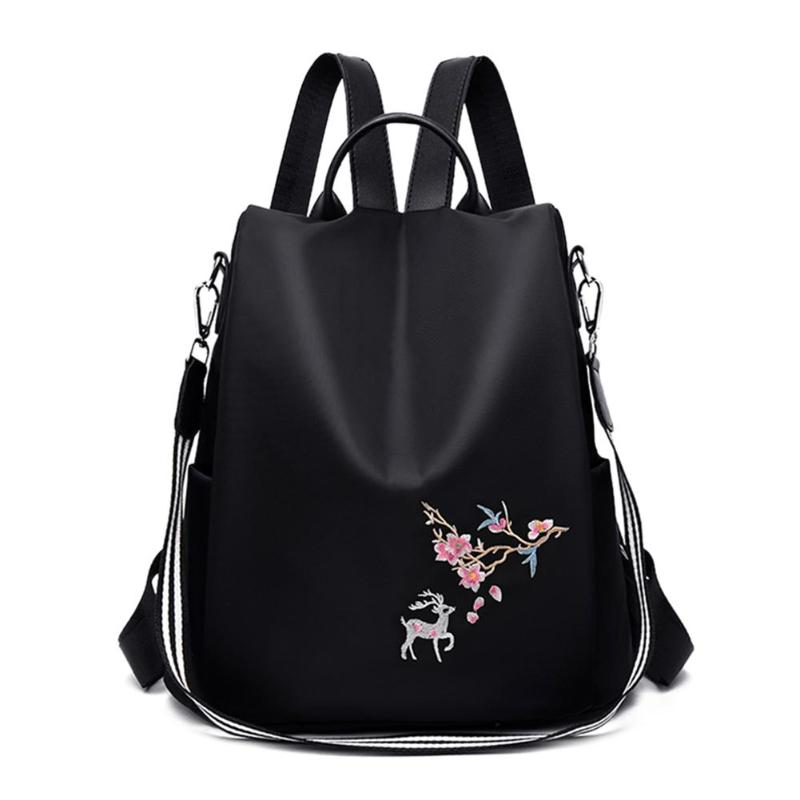 1084 Women Backpack Teenager Girls Student Embroidery Print School Shoulder Bags Anti-theft Travel Casual Knapsack Mochila