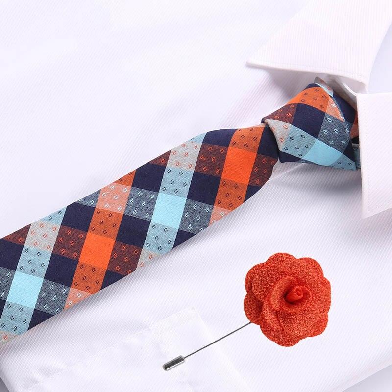 6.5cm Mens Business Cotton Tie Formal Orange Blue Plaid  Jacquard Wedding Necktie Narrow Classic & Flower Pin