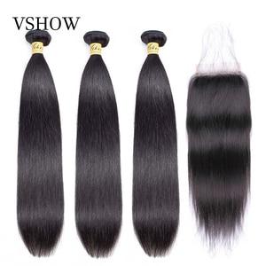 Brazilian Straight Hair 3 Bundles With Closure 100% Human Hair Bundles With Closure VSHOW Remy Hair Weave Bundles(China)