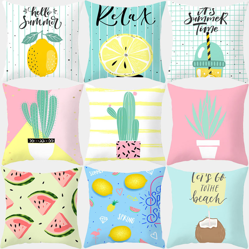 Summer Plants Fruit Pillowcase 45x45 Cushion Cover Throw Pillow Covers Decorative Cushions Sofa Couch Pink Yellow Home Decor