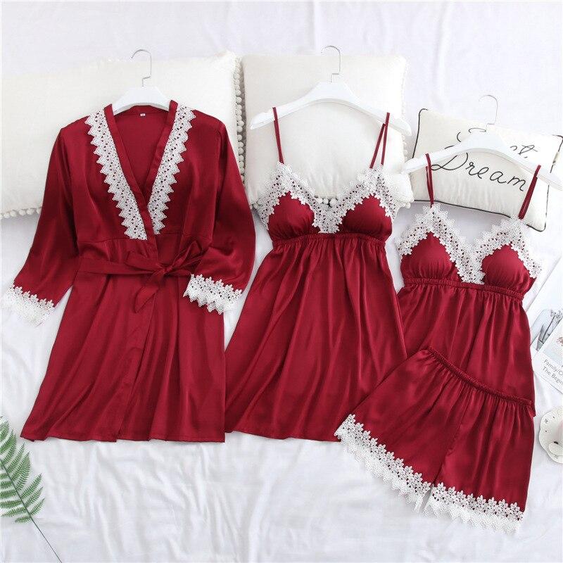 2019 printemps Satin femmes vêtements de nuit nuisette dentelle Lingerie 4 pièces sangle & Robe & Shorts vêtements de nuit décontracté femme maison vêtements pyjamas