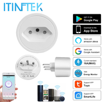 Minienchufe inteligente de 16A, toma de corriente con WiFi, temporizador, SmartLife, Monitor de potencia, Control por voz, para Alexa y Google Home, Brasil