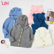 LZH 2021 Autumn Infant Hooded Knitting Jacket For Baby Clothes Newborn Coat For Baby Boys Girl Jacket Winter Kids Outerwear Coat