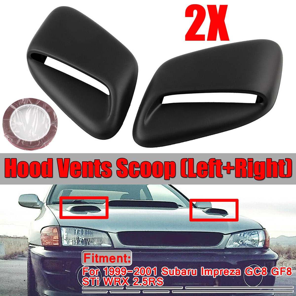 1Pair Black Car Front Air Flow Intake Scoop Hood Vent Bonnet Vents Scoop For Subaru Impreza GC8 GF8 WRX STi 2.5RS 1999 2000 2001 Hoods     - title=