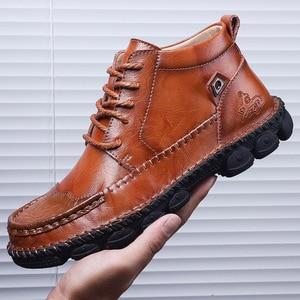 Image 4 - Mens Leather Ankle Boots Lace up Men Shoes High Quality Men Vintage British Military Boots Autumn Winter Plus Size 38 48