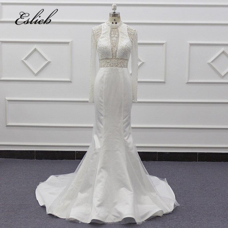 Eslieb Elegant Mermaid Wedding Dress 2020 Beads Flower Wedding Dresses Remove Train Tulle Bride Dresses