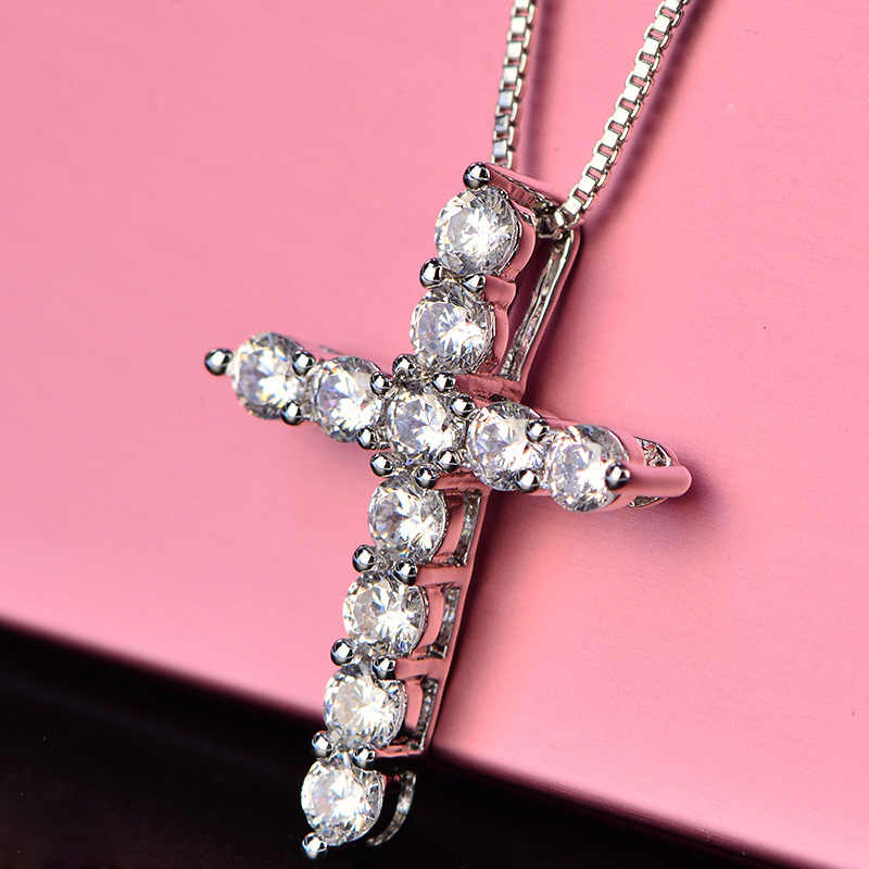 С сертификатом подвеска в форме серебряного крестика ожерелье инкрустация блестящая 11 шт. 3,5 мм CZ кулон с циркониевым камнем & ожерелье женские оригинальные ювелирные изделия