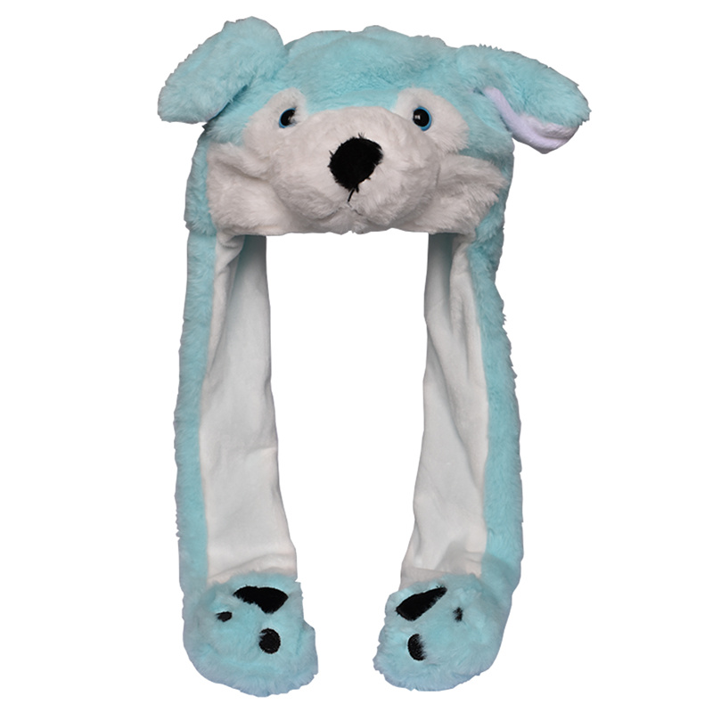 DOUBCHOW Ear Moving Cute Plush Blue Wolf Animal Hat With Paws For Adults Teenagers Kids Boys Girls Costume Winter Hats Beanie