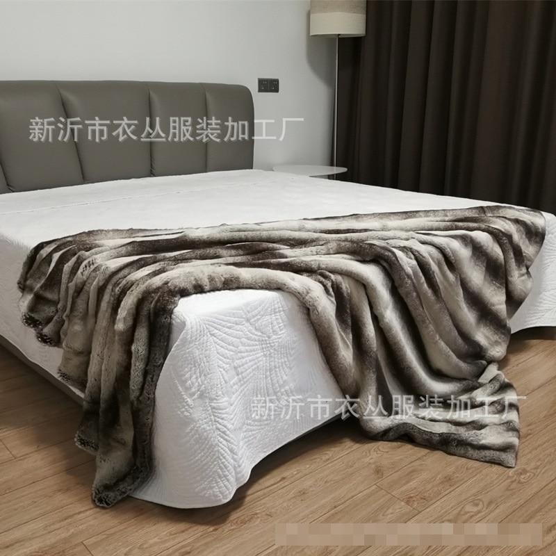 Жаккардовые одеяла в полоску с искусственным кроличьим мехом для дивана - 2