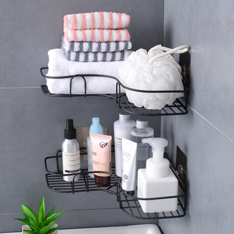 Iron Bathroom Storage Rack Metal Punch-Free Shelf Shower Wall-mounted Suction Basket Organizer Kitchen Home Corner Hanging Racks