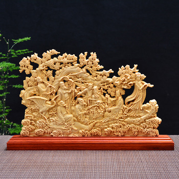 Wood carving Chinese wood fairy, wood crafts gift Home desktop decoration office ornaments (A1076)