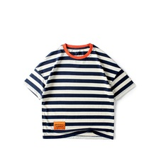 Summer Children Clothes 5-13Y Boys T-shirts Fashion Striped Cotton Short For Kids Tops Teens
