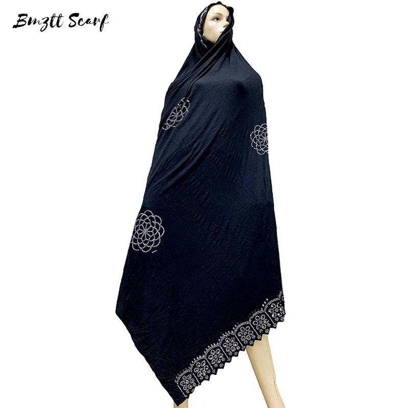 100% Soft Cotton Scarf KASHKHA Scarf For African Muslim Women Dubai Pray Big Shawls With Rhinestones  BM827
