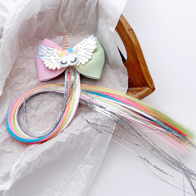 Ncmama Unicorn Hair Clips For Girls Children Glitter Hair Bows/Clips With Colorful Wig Handmade Hairpins Kids Hair Accessories
