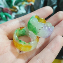 Hot Sell Natural Hollow out color ring Jade Charm Jewellery Fashion Accessories Hand-Carved Man Ahd Woman Luck Amulet Gifts(China)