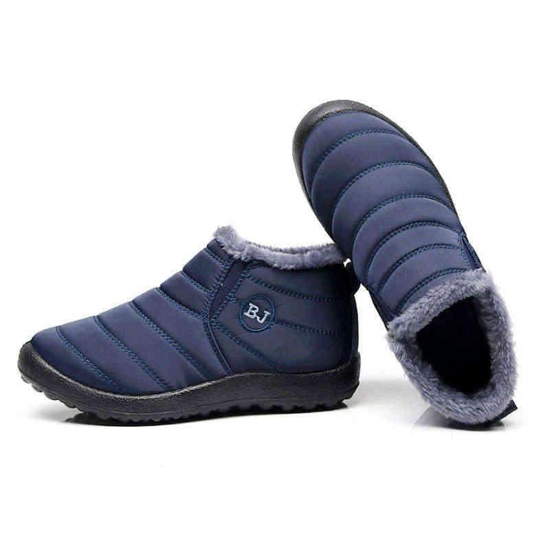 2019 botas de nieve de fondo antideslizantes de moda para mujer, botas de invierno de felpa abrigadas, botas de mujer resistentes al agua sólidas, zapatos de mujer de talla grande