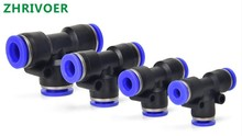 5Pcs PE4 6 8 10 12MM Pneumatic  Push In Tee 3-Way Fitting Plastic Pipe Connector Quick Fitting