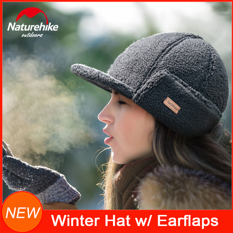 NatureHike Women Winter Warm Hat Men's Retro Wool Caps with Visor for cold weather Outdoor Sports Camping Hiking Climbing