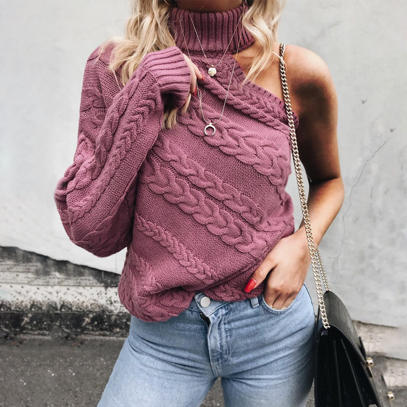 Missord 2019 Autumn And Winter Sexy Turtleneck One Shoulder Women Sweater Solid Color Female Pullover MY021