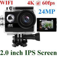 цена на 24MP Wifi Action Camera Ultra HD 4K 60fps 2.0'' IPS Screen Sport Camera Go Waterproof Pro Sports DV 170 Wide Angel Helmet Camera