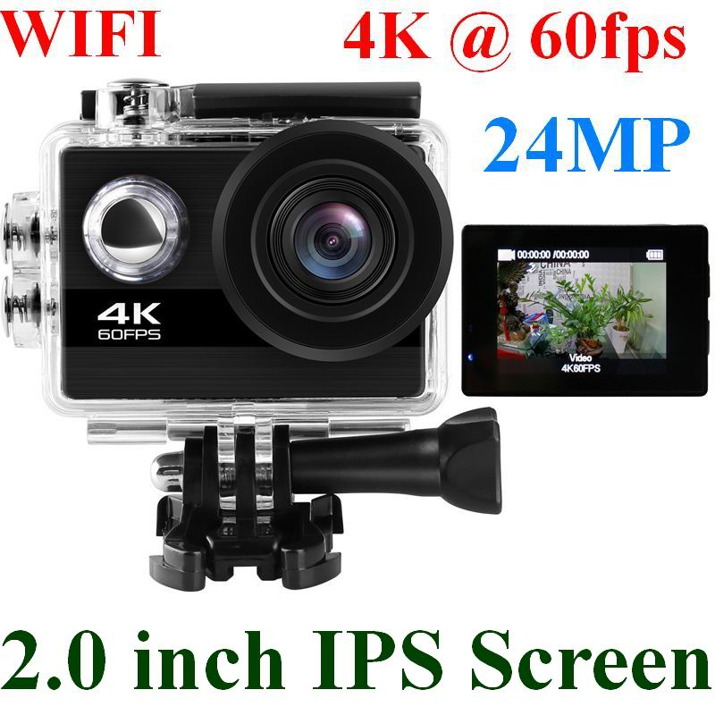 24MP Wifi Action Camera Ultra HD 4K 60fps 2.0'' IPS Screen Sport Camera Go Waterproof Pro Sports DV 170 Wide Angel Helmet Camera(China)