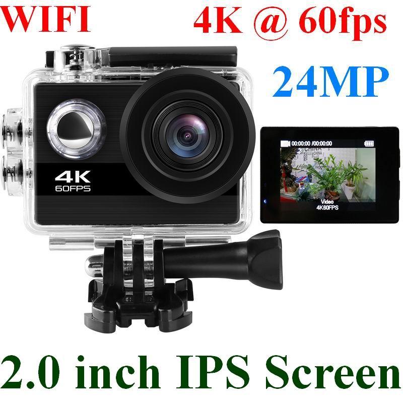 24MP Wifi Action Camera Ultra HD 4K 60fps 2.0'' IPS Screen Sport Camera Go Waterproof Pro Sports DV 170 Wide Angel Helmet Camera