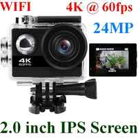 24MP Wifi kamera akcji ultra hd 4K 60fps 2.0 ''IPS ekran kamera sportowa Go wodoodporna Pro sport DV 170 szeroki anioł kamera na kask