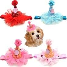 Cute Adorable Dog Cat Birthday Gauze Glitter Hat Pet Cap Party Festival Costume Decoration