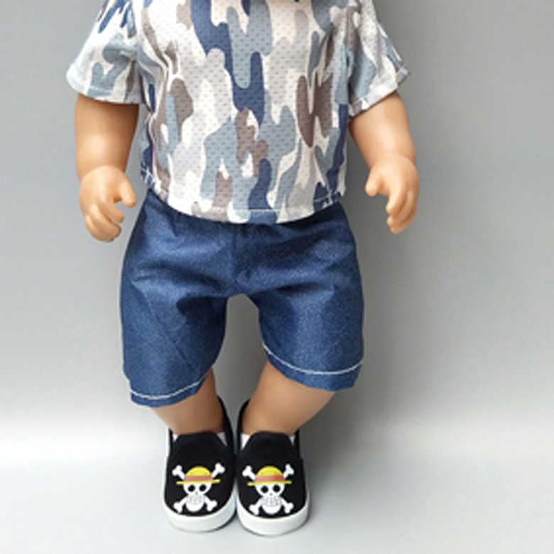 doll clothes for born Baby Dolls grey Camouflage shirt and jeans short pants 18 inch doll boy outfits shirt trousers gifts toys