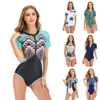 swimwear for girls upf50 children s swimsuit one piece little girl bathing suit leaf print long sleeves rashguard swimming suit 2020 New One-Piece Swimsuit Print Short Sleeve Women Swimwear Diving Rashguard Bathing Suit Rash Guard Surfing Swimming Suit