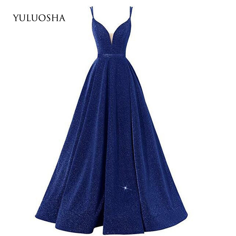 YULUOSHA <font><b>Bridesmaid</b></font> <font><b>Dresses</b></font> Long Sleeveless A-Line Sequin <font><b>Sexy</b></font> Wedding Guest <font><b>Dress</b></font> Long <font><b>Dress</b></font> for Wedding Party for Woman New image