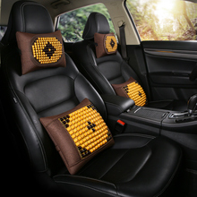KKYSYELVA Wooden Beads Car Seat Cushion Cover Back Support Lumbar supports for office home Waist Support Interior Accessoreis