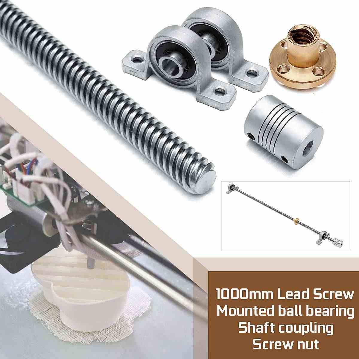 Typ-3, 1Set, 1000mm CopperNut+Coupling Shaft+Horizontal Bearing S SIENOC 1000mm 3D Printer 8mm Bearing Steel T8 Trapezoidal Lead Screw Rod Linear Bar