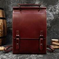 MAHEU High Fashion Men Women Backpack Genuine Leather Daypack For Male Female Bagpack School Bags Dark Red Brown Travel Backpack
