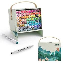 Arrtx 80 Lebendige Farben von Alkohol Marker ALP Dual Tipps Marker Stift für Zeichnung Skizzieren Karte Entwicklung Kunst Arbeitet Kunst werkzeug