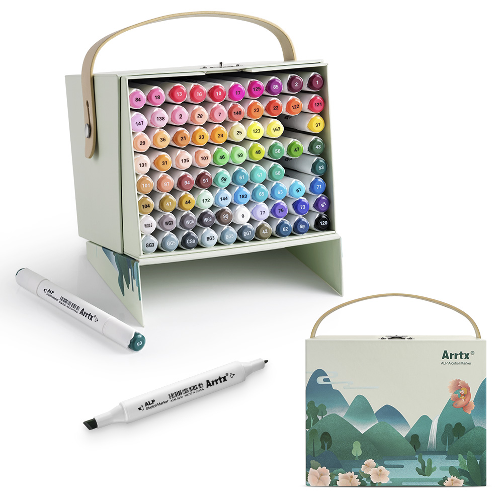 Arrtx 80 Vibrant Colors Of Alcohol Marker ALP Dual Tips Marker Pen For Drawing Sketching Card Designing Arts Works Art Tool