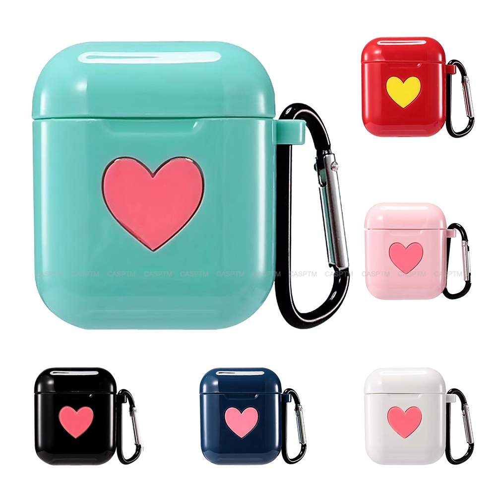 Colorful Heart Soft TPU Case For Apple Airpods 1 2 Shock Proof Protector Cover Earphone  Case For Apple Airpods 1 With Hook