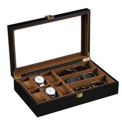 Drewniane pudełko na zegarek organizuj  pojemnik na wiele okularów  gablotka na biżuterię pojemnik w Pudełka do zegarków od Zegarki na