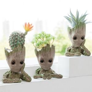 Image 2 - Baby Groot Blumentopf Blumentopf Pflanzer Figuren Baum Mann Nette Modell Spielzeug Stift Topf Garten Pflanzer Blumentopf Geschenk für kinder