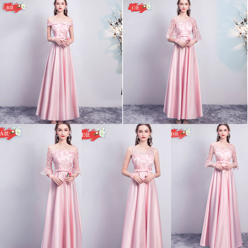 Pink Bridesmaid Elegant Long Dress For Wedding Party Woman Club Sexy Prom Dress Sister Satin Champagne Vestido De Festa Longo
