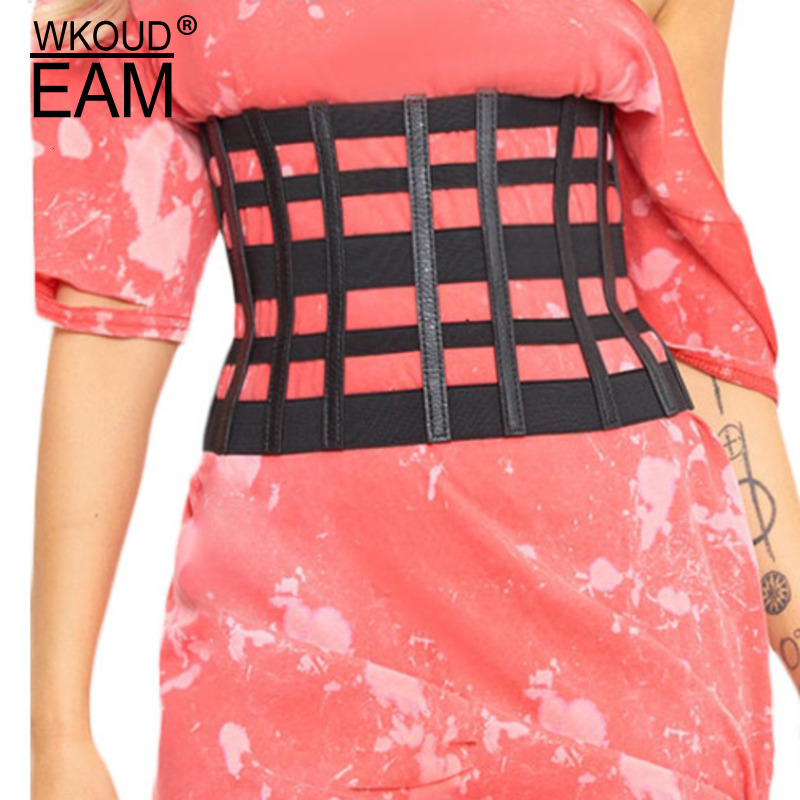 WKOUD EAM 2020 New Fashion Autumn Winter Trendy Girdle For Women Plaid Openwork Wide Belt Female Solid Tide Vintage Casual ZJ935