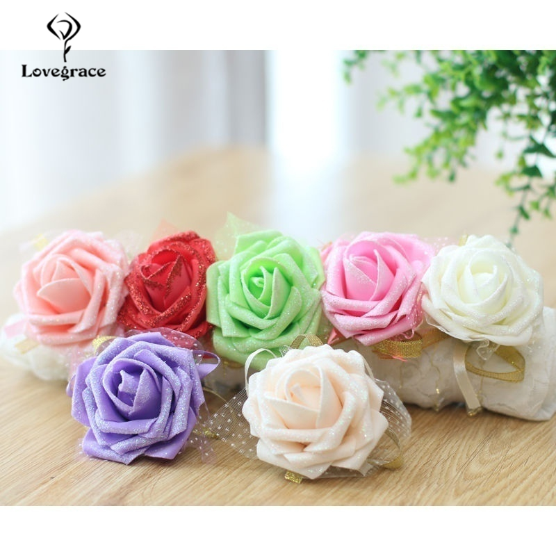 Lovegrace Shining Artificial Flower Wedding Bridesmaid Bracelet Flower Silk Roses Sister Bracelet Bridesmaid Party Prom