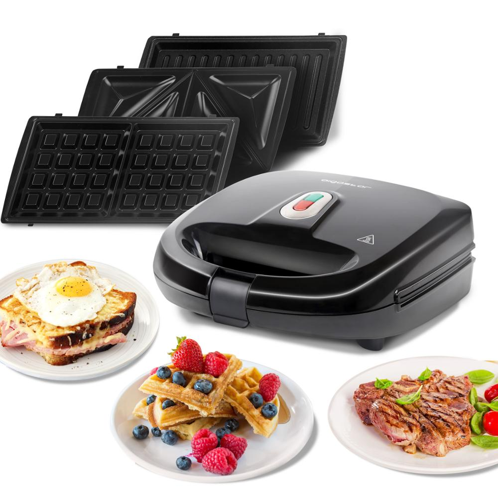 Aigostar Rubik 30JVU - 750W Black Sandwich Maker/ Grill/Waffle Bakeware 3 IN 1. Automatic Thermostatic System, Removable Plates.