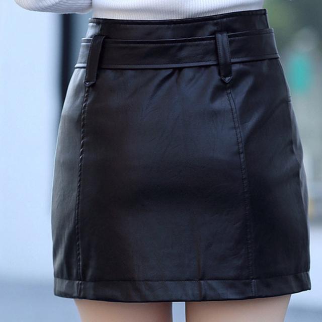 Plus Size 3XL PU Leather A Line Skirt Women Belt Zipper High Waist Women's Mini Skirts Black 2019 Autumn Fashion Bottoms Female