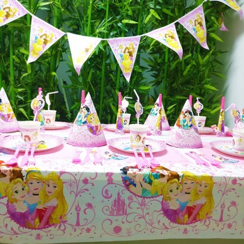 Three Priness Kid Birthday Party Decoration Set Party Supplies Cup Plate Banner Hat Straw Loot Bag fork Disposable Tableware Set image