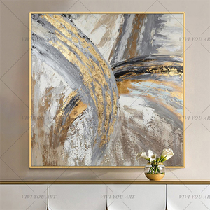 New Design High Quality Hand-painted Modern Golden Oil Painting on Canvas Modern Art Oil Painting for All Kinds of Wall Decor(China)