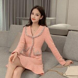 Image 3 - Sweet Pink Dress Long Sleeve Korean Style Buttons Mini Thick Winter Dress Women Good Quality Ruffle Kawaii Vintage Vestido Mujer