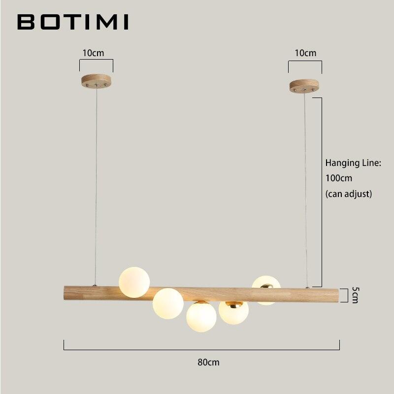 BOTIMI comedor lámpara colgante LED para sala de estar bolas de cristal lámpara colgante de madera Bar mesa larga colgante desván accesorios de iluminación - 5